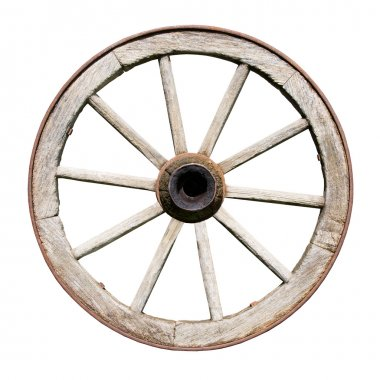 Old Traditional Wodden Wheel Isolated on White