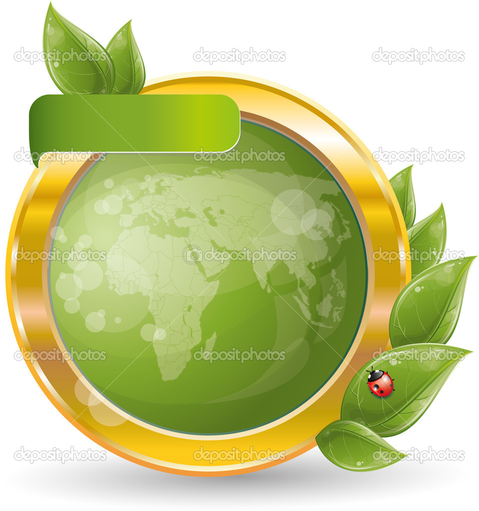 Gold circle frame with green leaf and globe