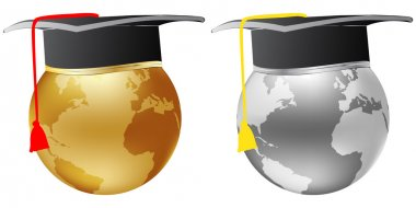metallic world globe graduation