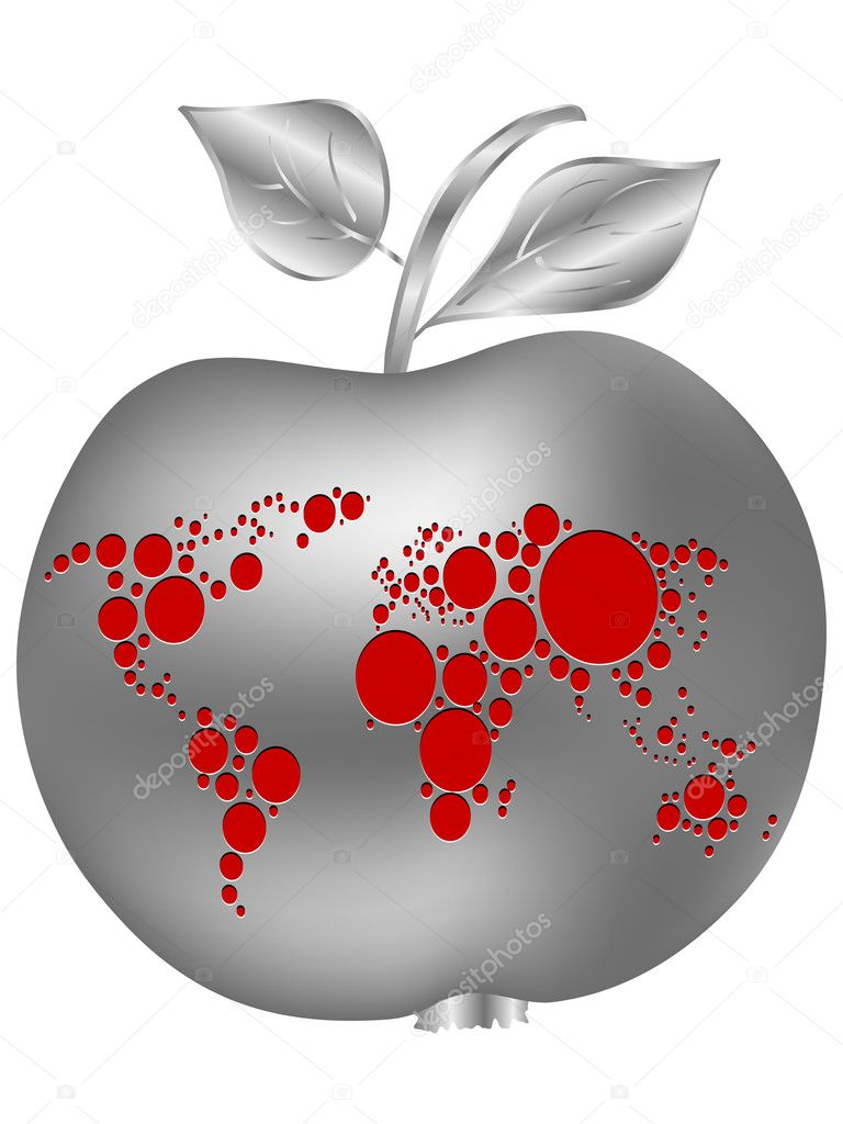 Silver apple with world map stock vector marincasandrei 7502402 silver apple with world map stock vector gumiabroncs Images