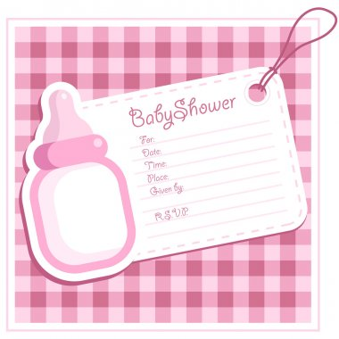 Pink Baby Bottle Invitation Card