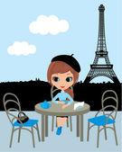 Fotografie hübsches Mädchen im Pariser café
