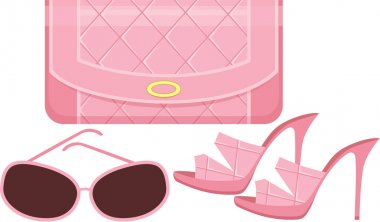 Female bag, shoes and sun glasses