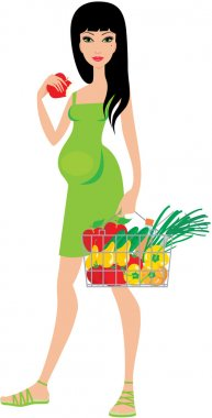 Pregnant woman buys fruit and eats an apple