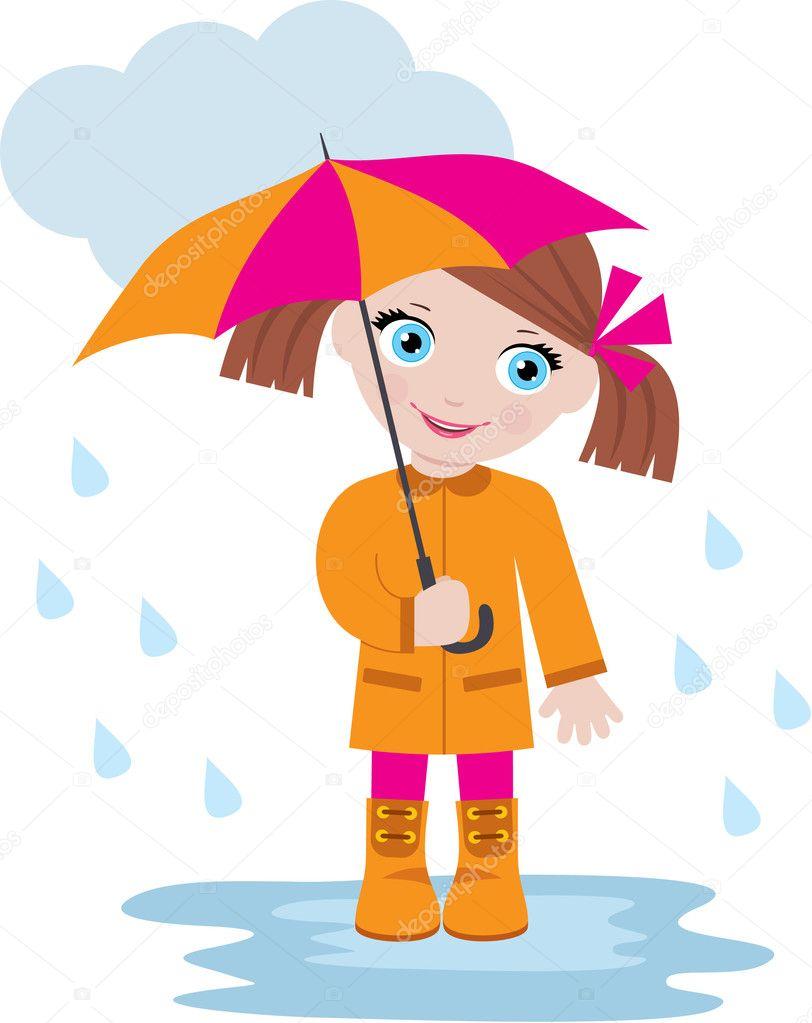 Dziewczynka pod parasolem — Wektor stockowy