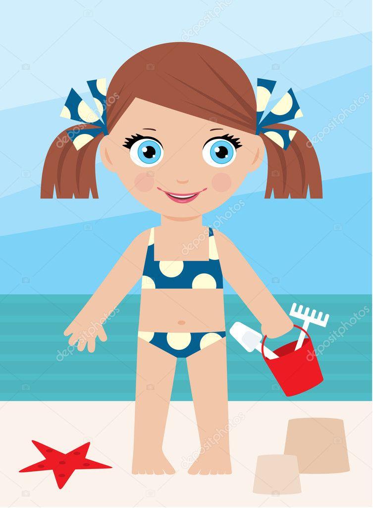 Little girl on a coast with a bucket