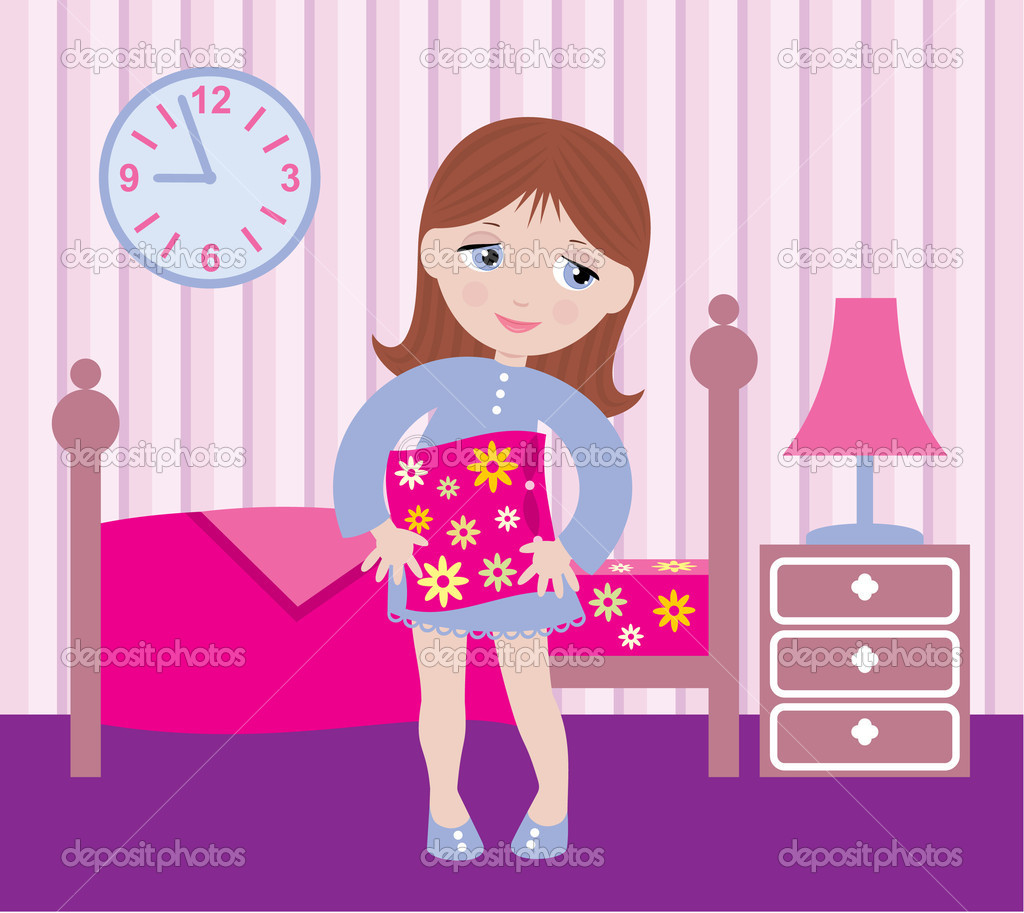 sleepy girl to go to bed stock vector gurzzza 7562675. Black Bedroom Furniture Sets. Home Design Ideas