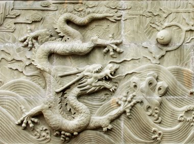 Dragon's relief sculpture