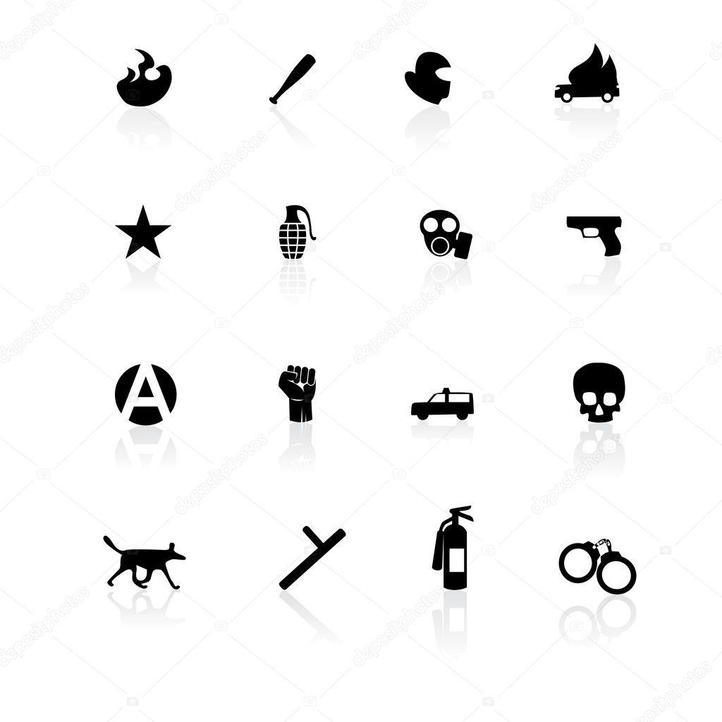 Black riot icons