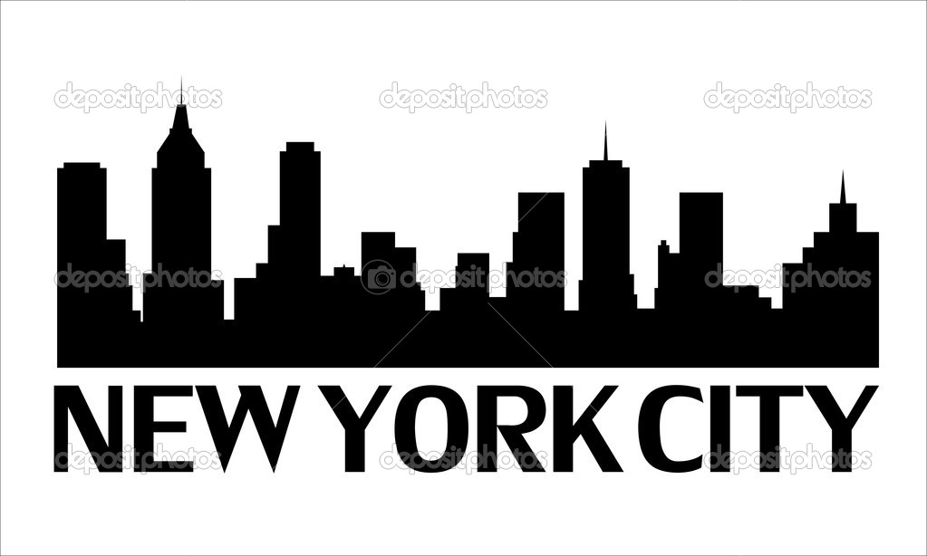 skyline of new york city stock vector frimerke 7556872 rh depositphotos com new york skyline silhouette vector new york skyline silhouette vector