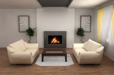 Interior with fireplace
