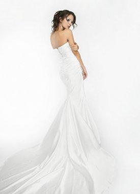 Happy beautiful bride white background