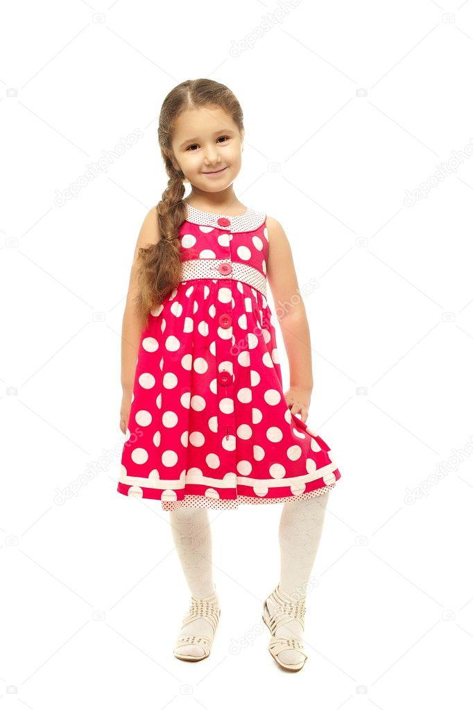 e116613ec Portrait of a pretty little girl in pink dress — Stock Photo ...