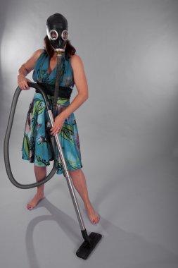 Woman as vacuum cleaner