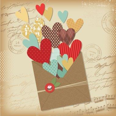 Retro scrapbooking elements, Valentine card