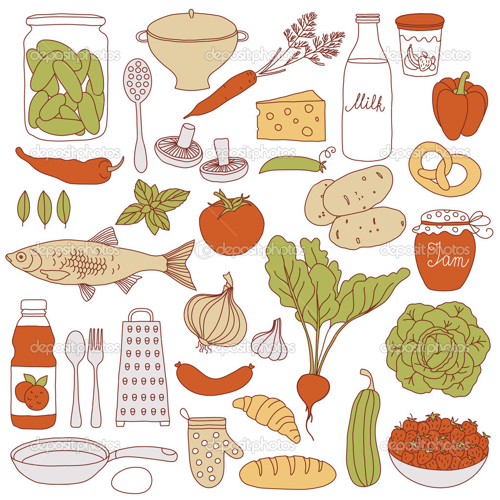 Set of food, vector illustration