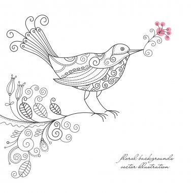 Vector bird on a floral branch