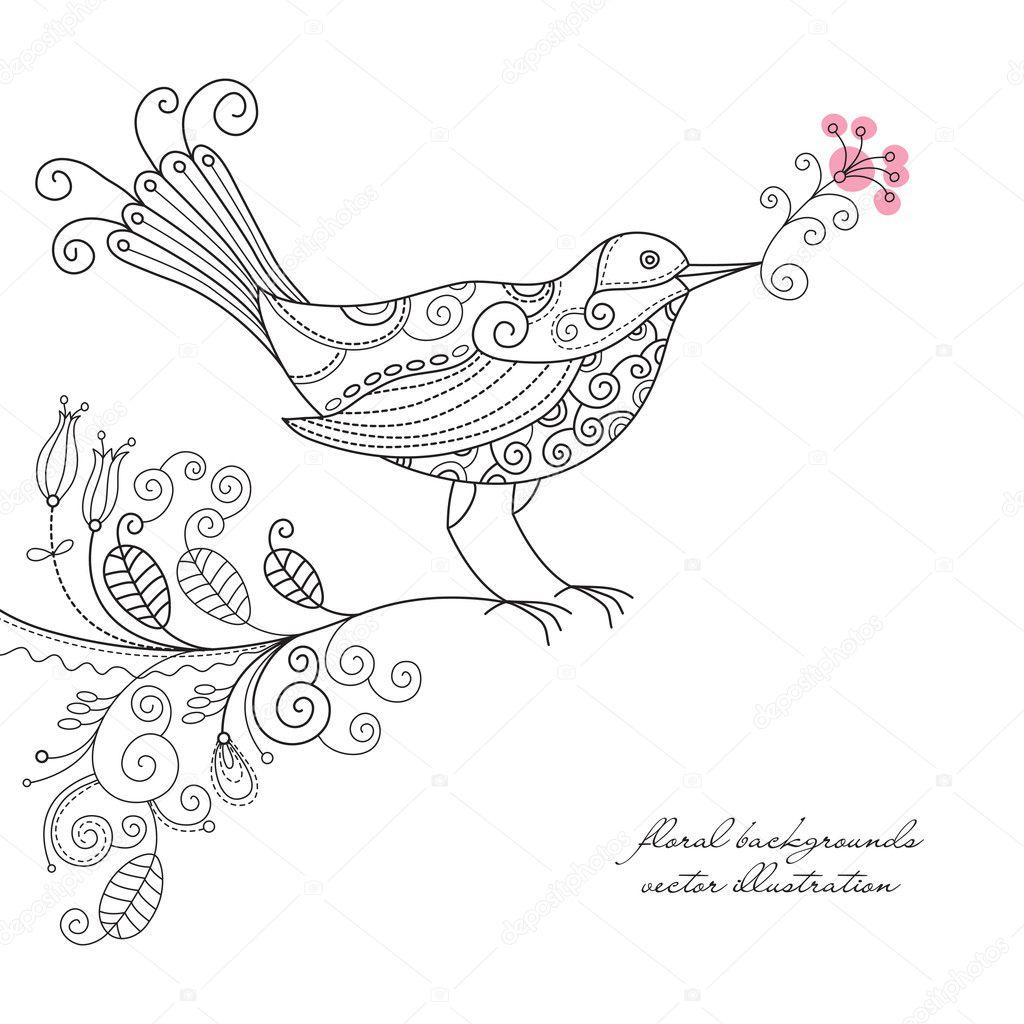 Vector bird on a floral branch
