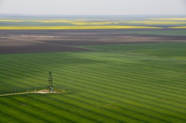 Aerial view of single oil well in green crops field