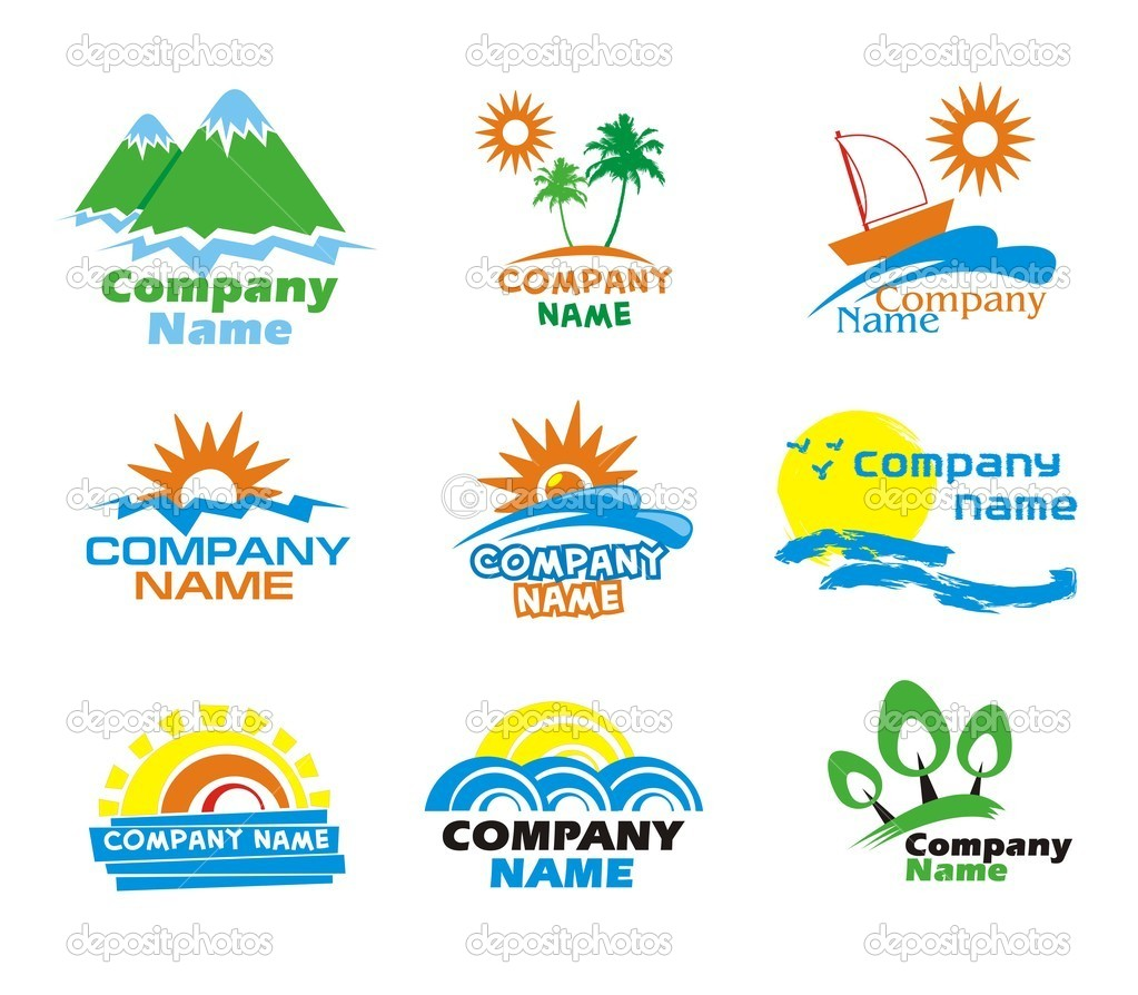 Tourism and vacation icons and logo design