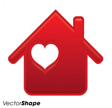 Gentle red house with heart inside