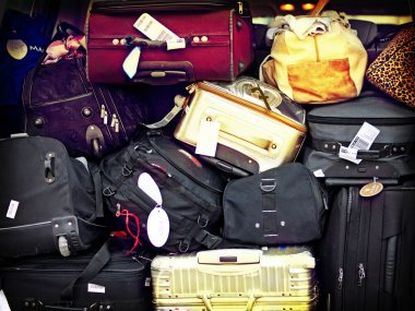 Luggage piled on top of each other