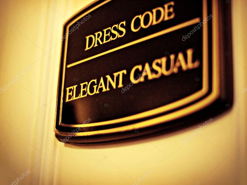 Dress code elegantly casual - Dress Code Elegant Casual Sign Stock Photo 7653756