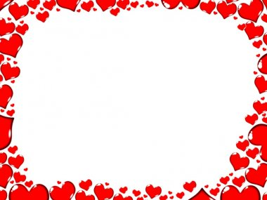 Love red hearts border frame card