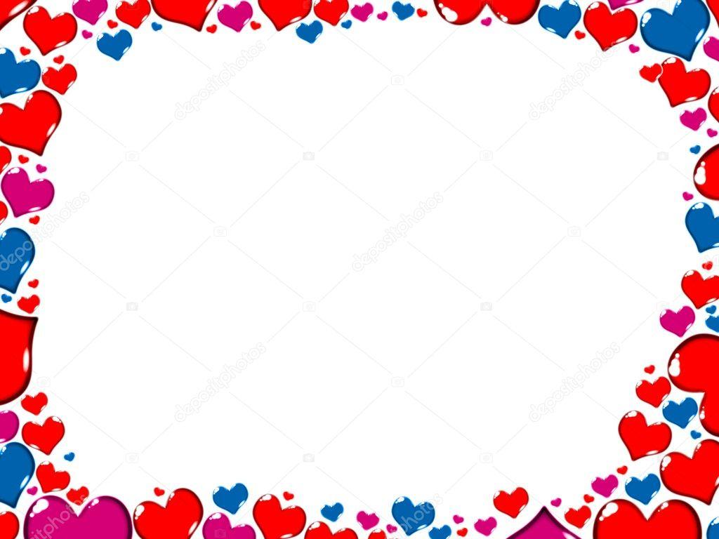 tarjeta de corazones de colores frontera marco — Fotos de Stock ...