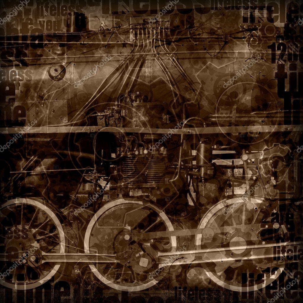 Steampunk machinery illustration