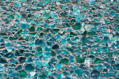 Blue green color mosaic glass pebbles texture pattern background
