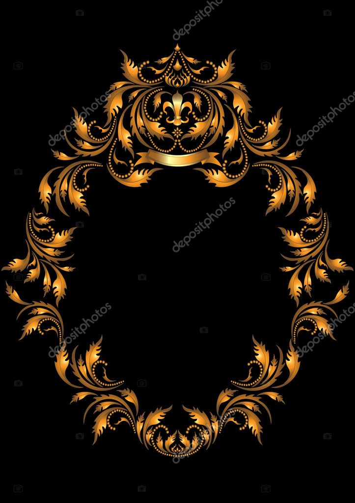 Gold oval frame in the Gothic style.Frame. — Stock Vector ...