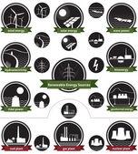obnovitelné zdroje energie - icon pack