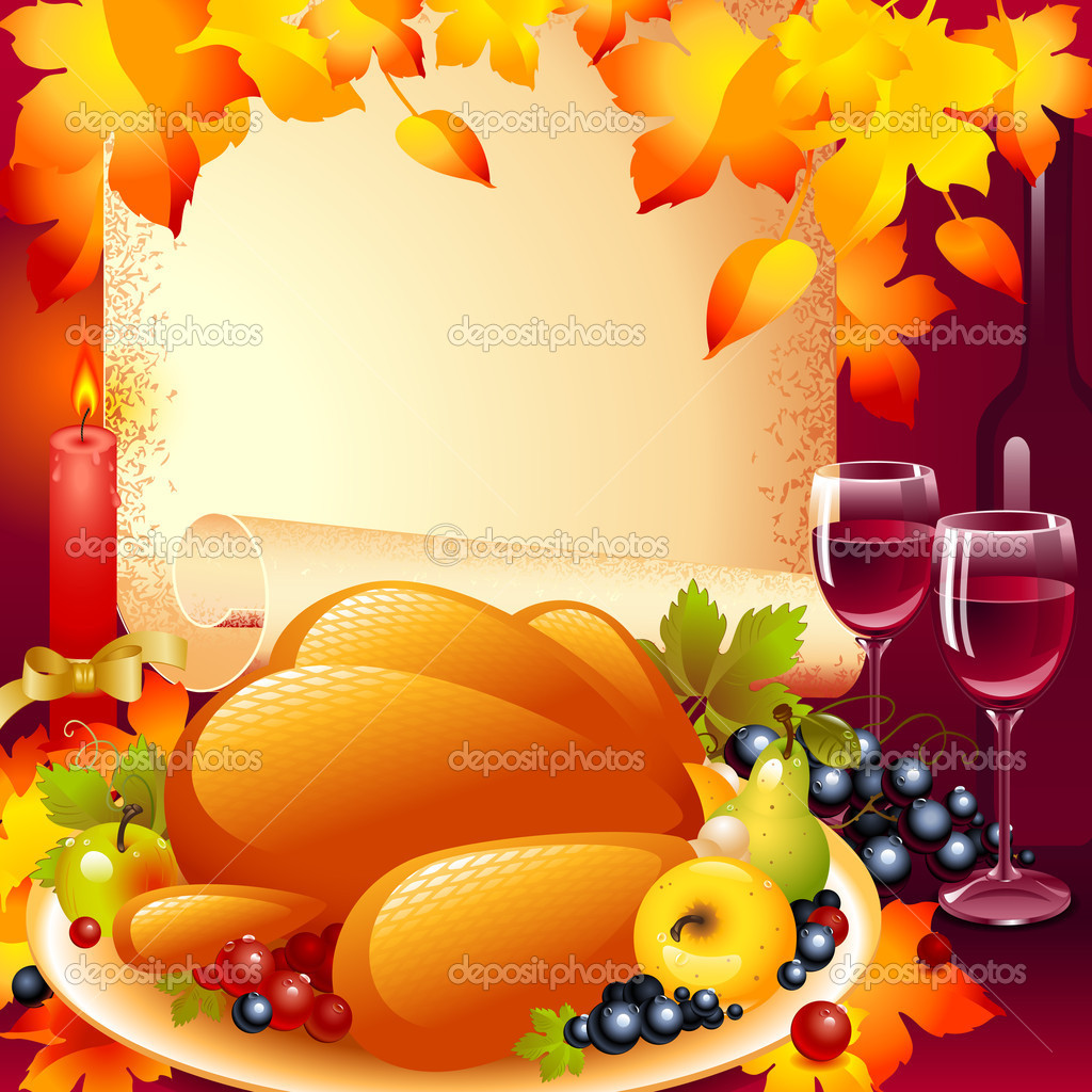 V card background images - Background With Turkey The Composition Of Fruits And Wine Glass In The Background Of The Old Roll Of Paper And A Candle With A Bow On Top Autumn Leaves