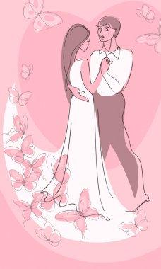 Valentine card. couple in love