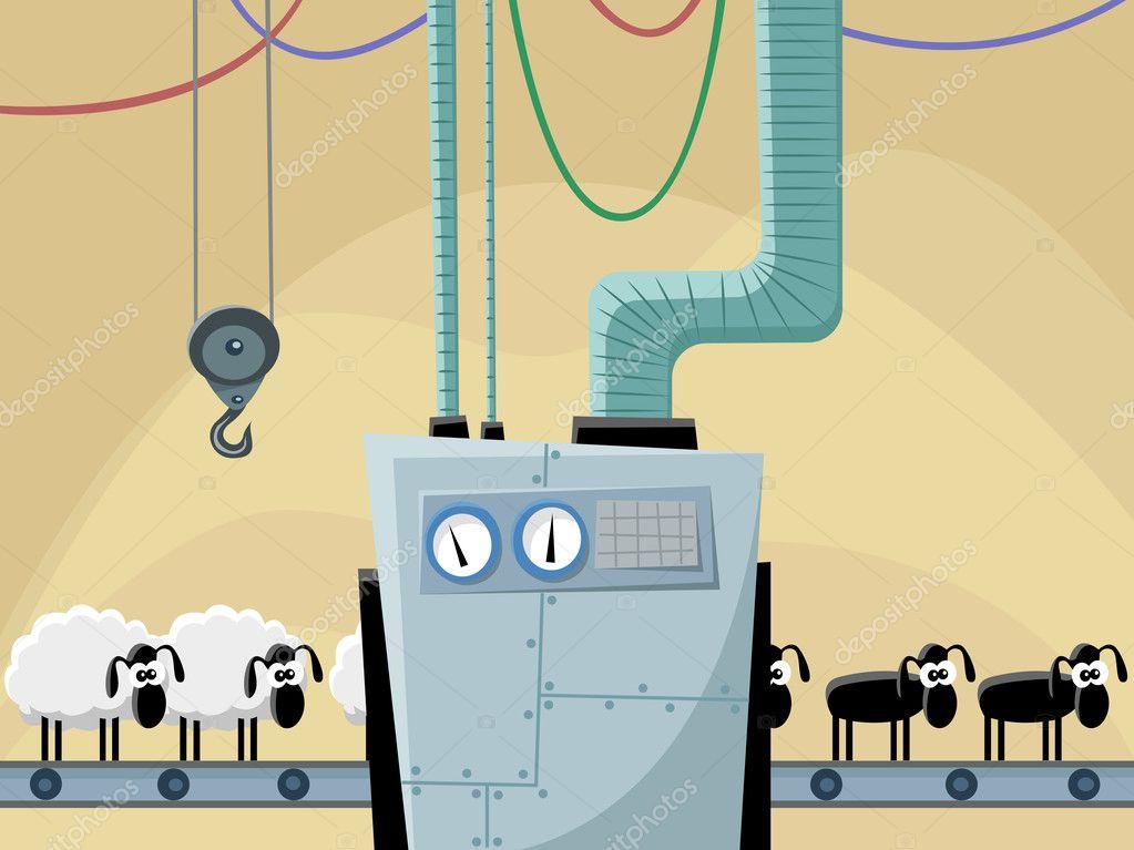 Sheeps on the conveyor