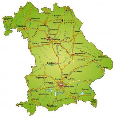 Bayern mit Autobahnen bunt