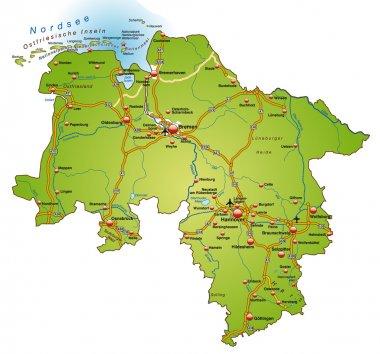 Niedersachsen mit Autobahnen bunt