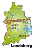 Photo Landsberg Inselkarte bunt