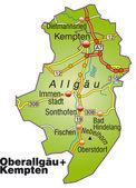 Fotografie Oberallgäu+Kempten Inselkarte bunt