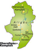 Fotografie Oberallgäu+Kempten Inselkarte Übersicht