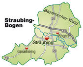 Straubing-Bogen Inselkarte grün