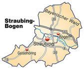 Fotografie Straubing-Bogen und Inselkarte orange