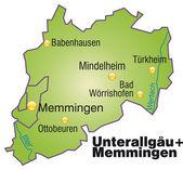 Fotografie Unterallgäu+Memmingen Inselkarte Übersicht