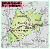 Fotografie Unterallgäu+Memmingen Umgebungskarte grün