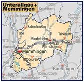 Fotografie Unterallgäu+Memmingen Umgebungskarte orange