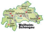 Fotografie Weilheim-Schongau Inselkarte grün