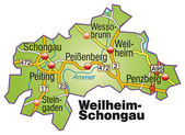 Fotografie Weilheim-Schongau Inselkarte bunt