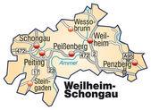 Fotografie Weilheim-Schongau Inselkarte orange
