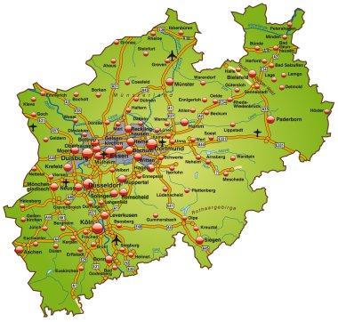 Nordrhein-Westfalen mit Autobahnen bunt